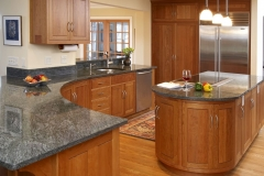 Solid Wood Kitchen Cabinets Wonderful L Shape Kitchen Decoration Using Curved Grey Granite Kitchen Counter Tops Combined Solid Light Oak Wood Kitchen Craft Cabinet And Cream Kitchen
